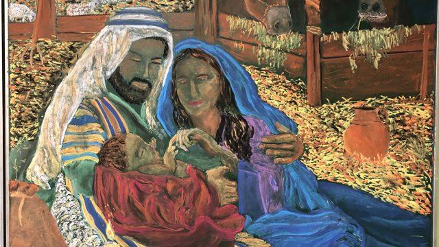 Weihnachtliches Tafelbild der 6. Klasse